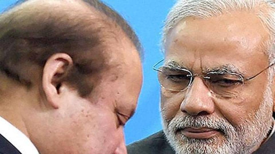 Prime Minister Narendra Modi with Pakistani Prime Minister Nawaz Sharif at the Shanghai Cooperation Organization summit in Ufa, Russia.