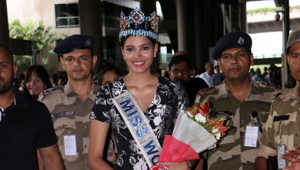 Stephanie Del Valle Miss World 2016 arrives at the International Airport in Mumbai.