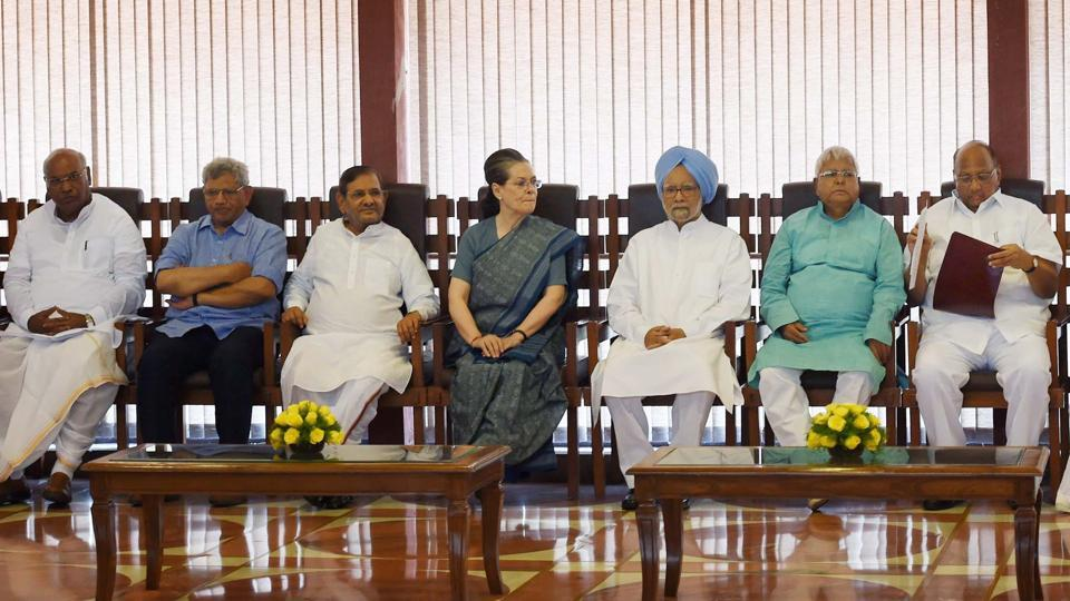 Opposition leaders led by Congress president Sonia Gandhi during an earlier meeting to discuss the strategy for the upcoming Presidential election.