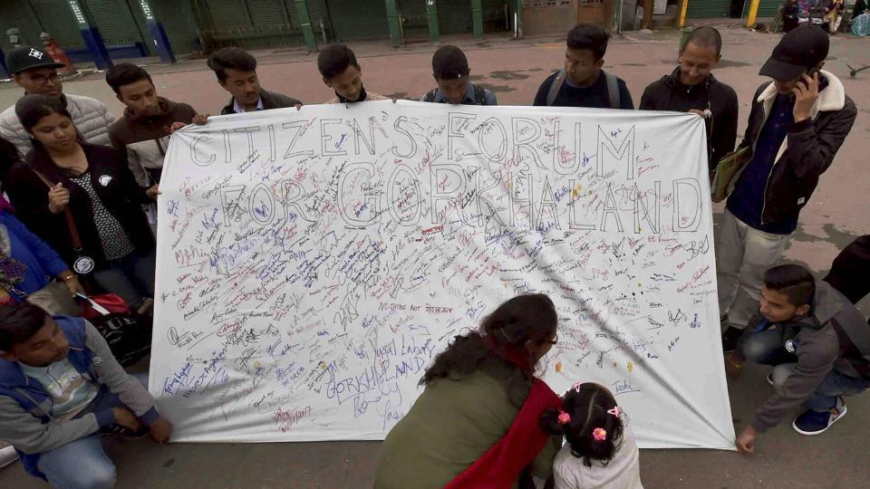 People participate in a signature campaign demanding for separate state of Gorkhaland in Darjeeling on Thursday.