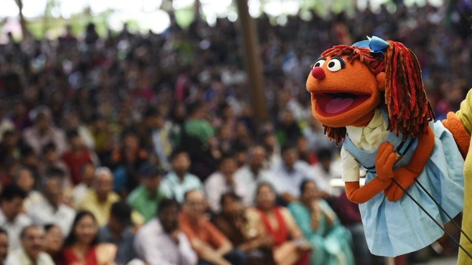 Chamki, a character from the TV series Galli Galli Sim Sim, and a mascot for girl child education also made an appearance at the showcase.   (Saumya Khandelwal/HT PHOTO)