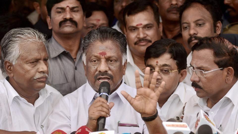 Former Tamil Nadu chief minister O Panneerselvam.