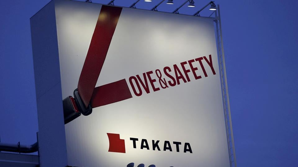 A billboard advertisement of Takata Corp is pictured in Tokyo.