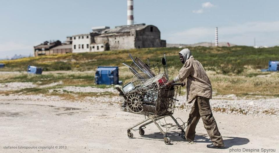 Prague-born artist Stefano Tsivopoulos' three-channel video follows the story of an African immigrant in Athens, searching for scrap to sell it and make money.