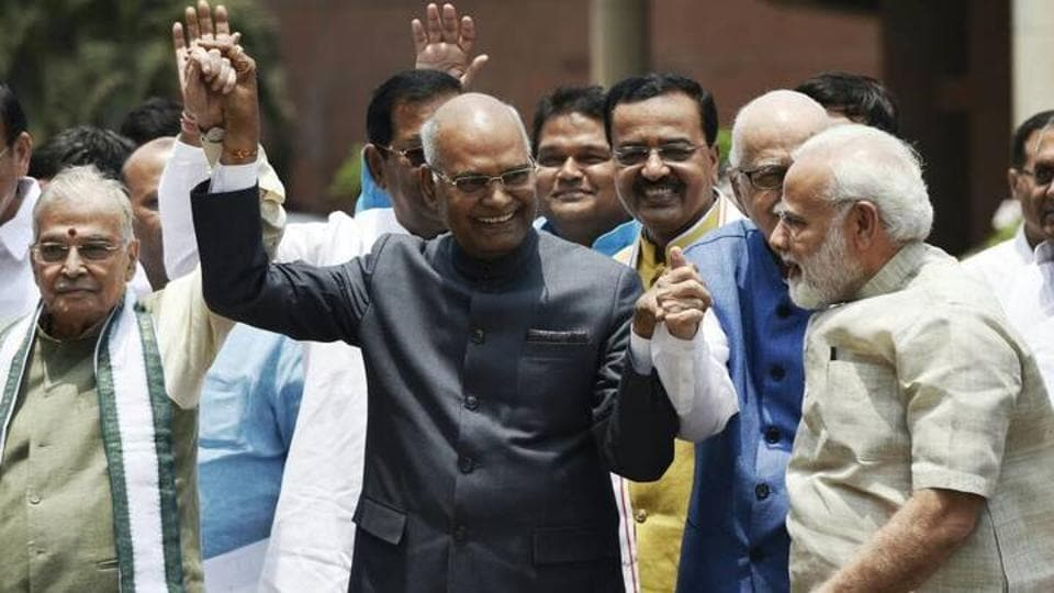NDA presidential nominee Ram Nath Kovind with Prime Minister Narendra Modi, veteran leaders L K Advani, Murli Manohar Joshi and other leaders after filing his nomination papers in Parliament on Friday.