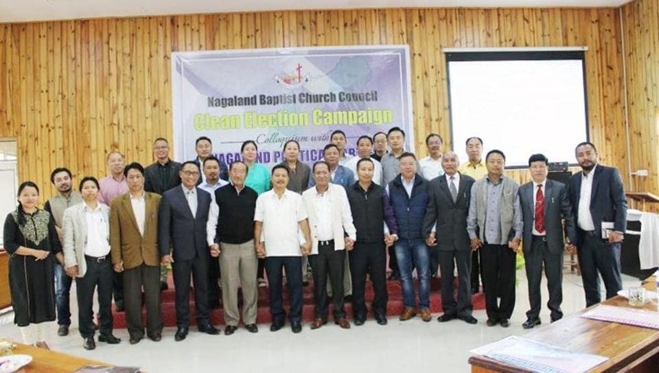 Representatives of political parties and Nagaland Baptist Church Council office bearers after signing the agreement in Kohima on Thursday.