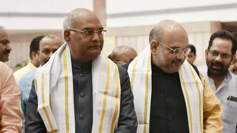 NDA presidential candidate Ram Nath Kovind arrives at the Parliament complex to file his nomination.
