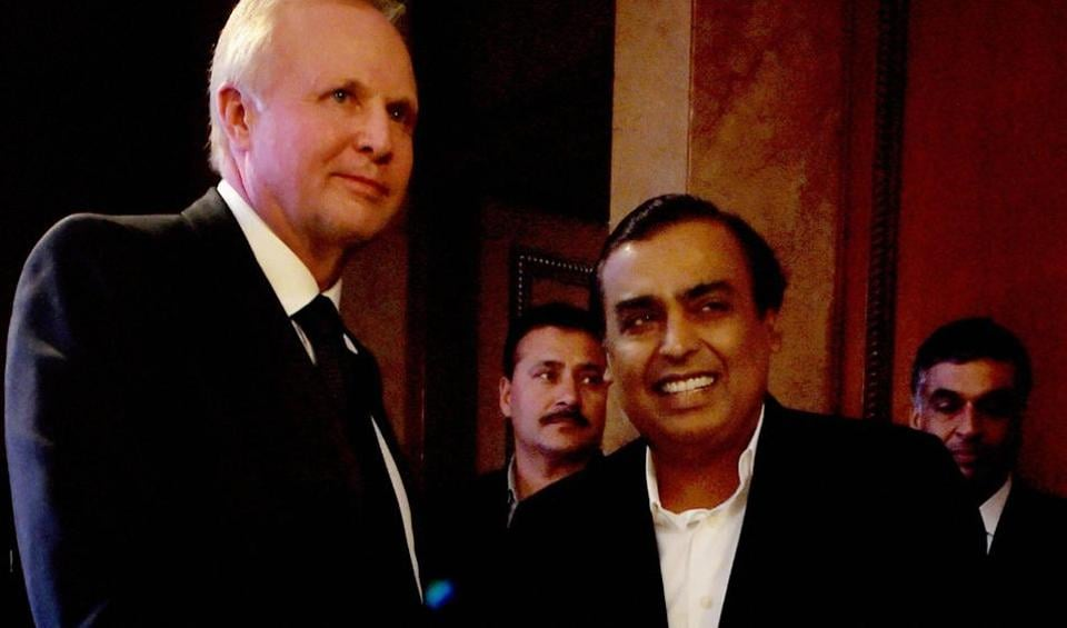 BP Plc Chief Executive Officer Bob Dudley and Reliance Industries Limited Chairman Mukesh Ambani after a press conference in New Delhi recently.