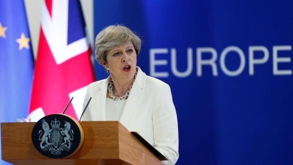 British Prime Minister Theresa May addresses a news conference at the EU summit in Brussels, Belgium, June 23, 2017.
