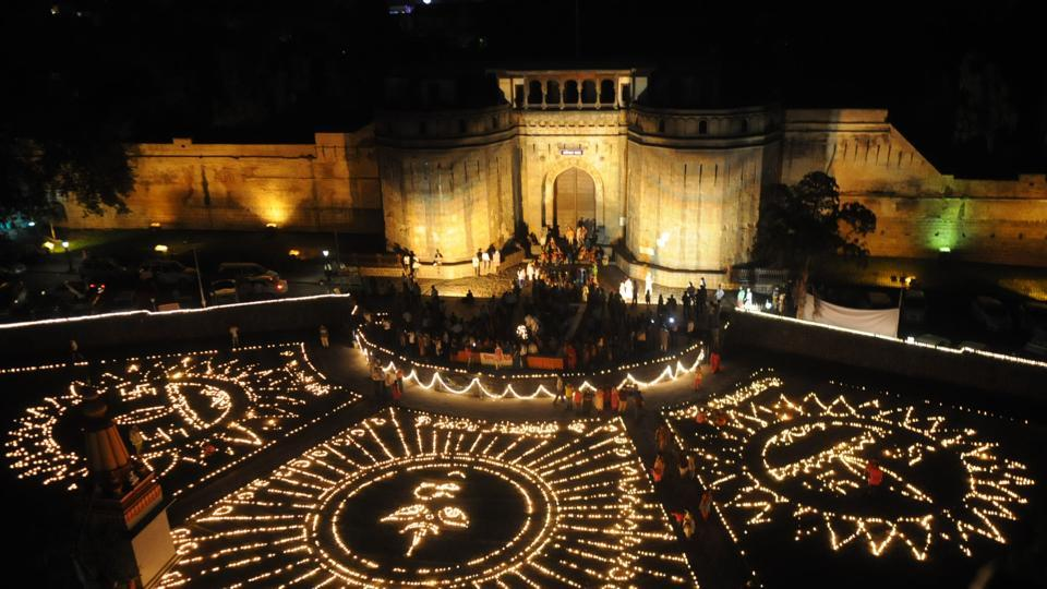 One of the city's most iconic structures is the Shaniwar Wada, pictured here as it was lit up during Dipotsava by an NGO.