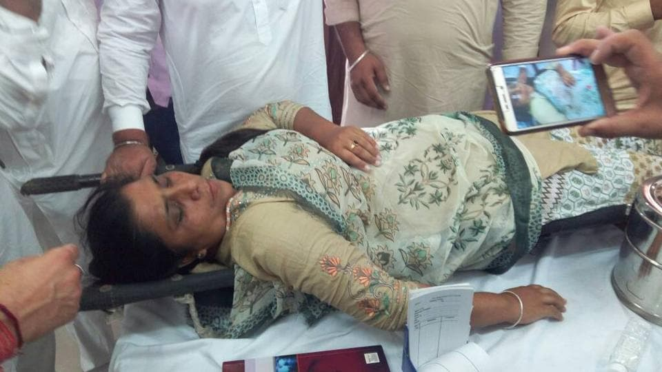 AAP MLA Sarabjit Kaur Manuke at Government Medical Superspecialty Hospital, Sector 16, Chandigarh on Thursday.