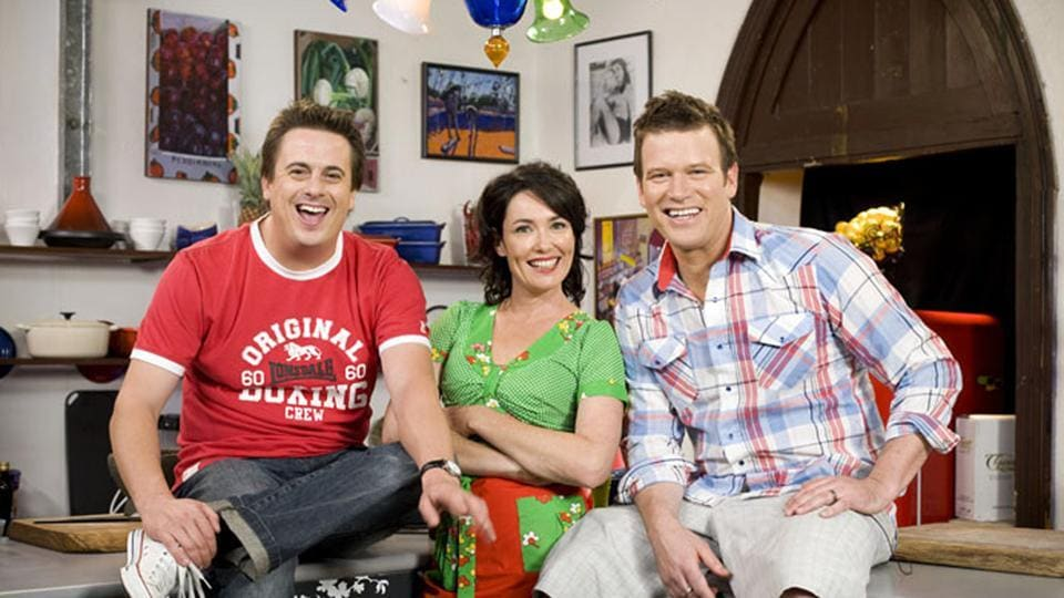 In this undated photo released by Foxtel, Darren Simpson, left, poses with his co-hosts and fellow chefs Anna Gare and Ben O'Donoghue during a promotion for their cooking show