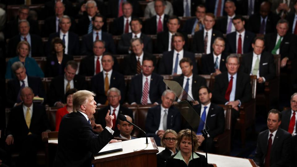 US President Donald Trump addressing a joint session of the US Congress on February 28, 2017 in the House chamber of the US Capitol in Washington, DC.