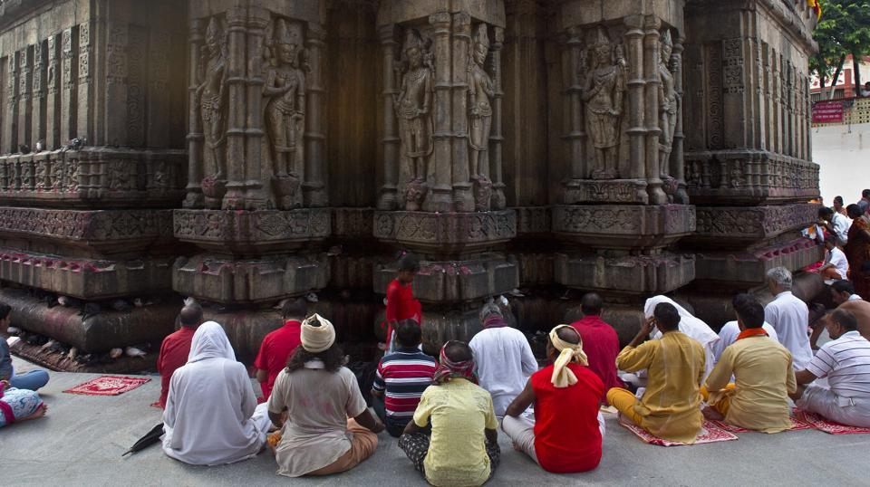 Indian devotees gather to pray at Kamakhya temple during festival. Known to be associated with Tantric Shakti cult, the mela is also known as Ameti or Tantric fertility festival. (AP)
