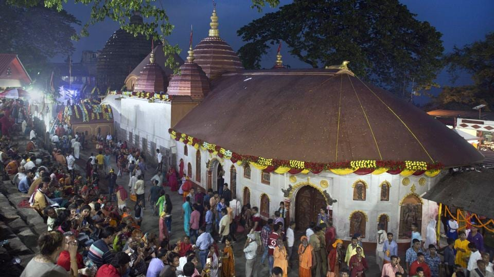 Indian devotees pray at Kamakhya temple during the Ambubachi festival in Guwahati.  (AP)