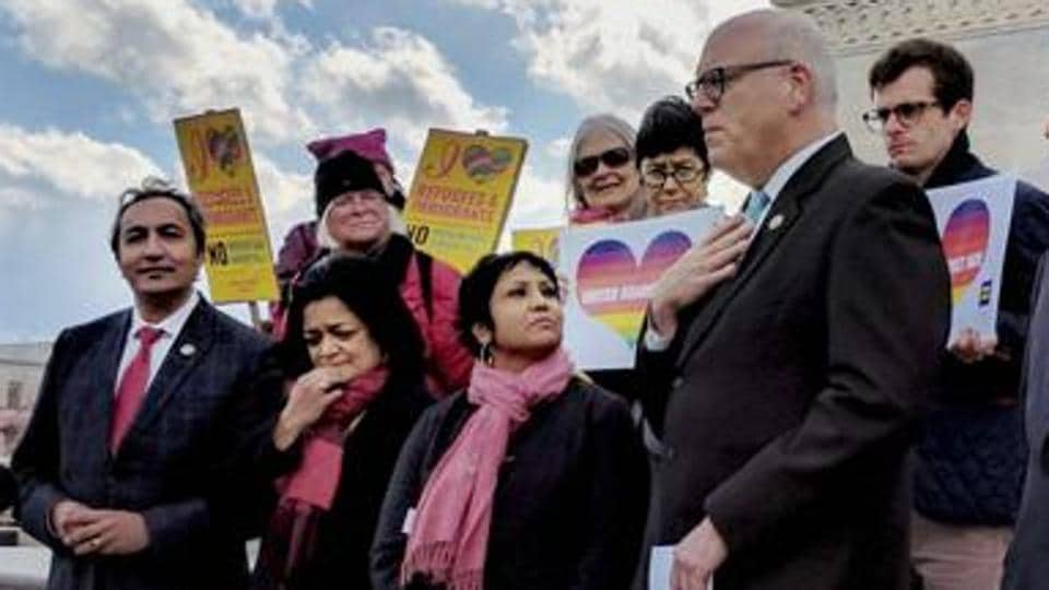 Indian American lawmakers Ami Ber, Pramila Jayapal and Ro Khanna along with top Democratic leader Congressman Joe Crowley attend a vigil at the US Capitol to honor victims of hate crime inuding Indian Americans in Washington on March 11, 2017.
