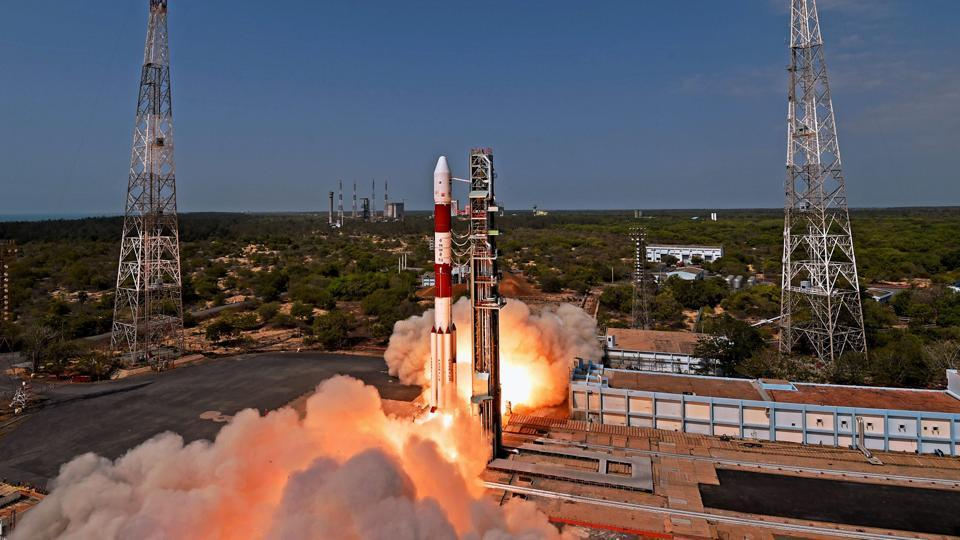 Indian Space Research Organisation (ISRO)'s PSLV C38, carrying earth observation satellite Cartosat-2 Series and 30 co-passenger satellites of various countries, lifts off from Satish Dhawan Space Center in Sriharikota on June 23, 2017.