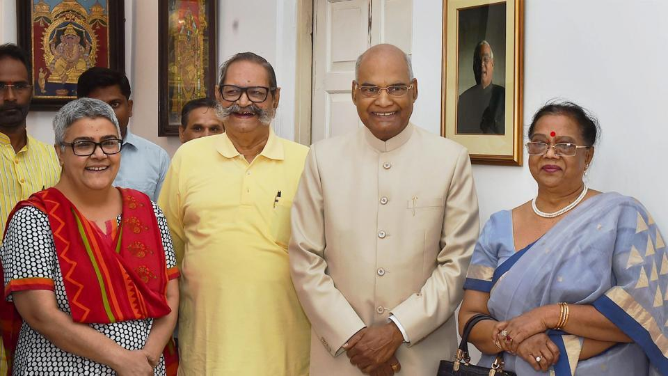 NDA's presidential candidate Ramnath Kovind and his wife with family members of Atal Bihari Vajpayee after meeting the former prime minister in New Delhi.