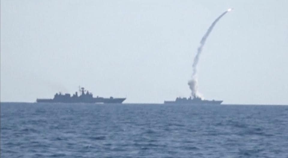 A still image taken from a video released by Russia's defence ministry on Friday shows a missile being fired from a Russian warship in the Mediterranean sea.