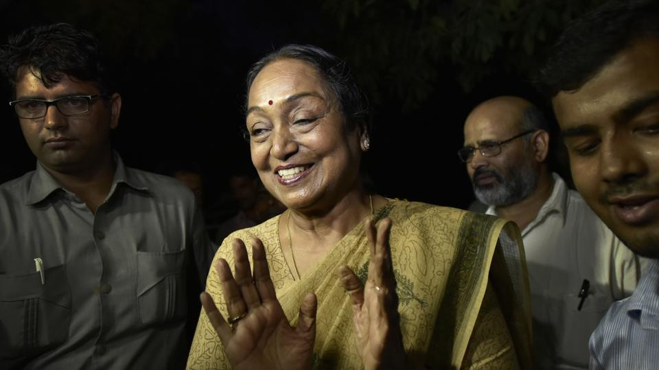 UPA Presidential candidate Meira Kumar at her home in New Delhi on Thursday.