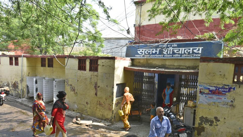 The primary school at a slum in Delhi's Chanakyapuri is right next to this toilet complex.