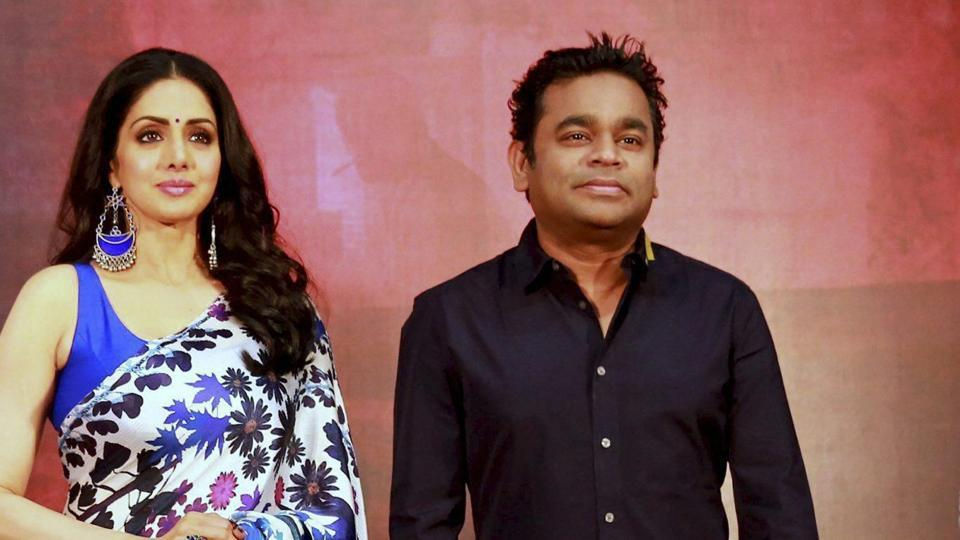 Bollywood actress Sridevi with music composer AR Rahman during an event for promotion of Mom in Chennai.