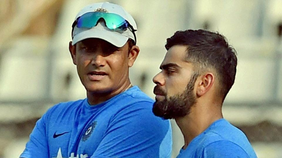 Virat Kohli's relationship with Anil Kumble (L) deteriorated during the India-Australia Test series.