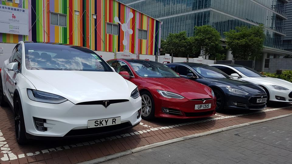 Tesla electric cars are recharged at Science Park in Hong Kong, China.