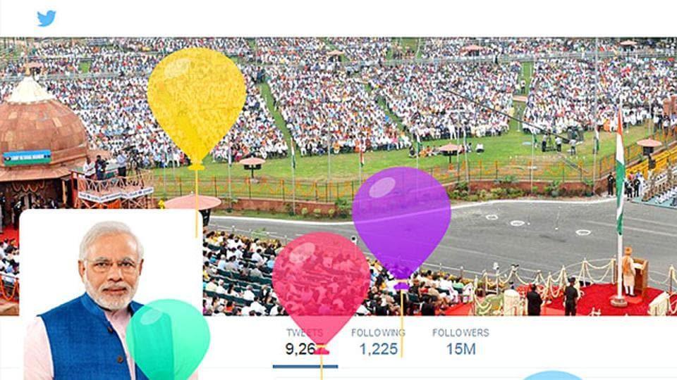 A screenshot of Narendra Modi's Twitter account on his birthday