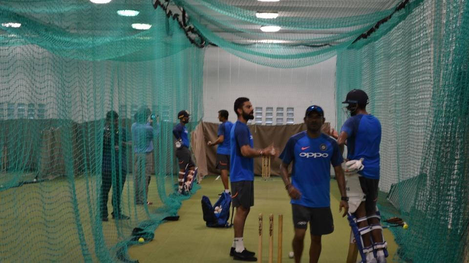 Virat Kohli conducts an indoor practice session ahead of the second ODI against the West Indies.