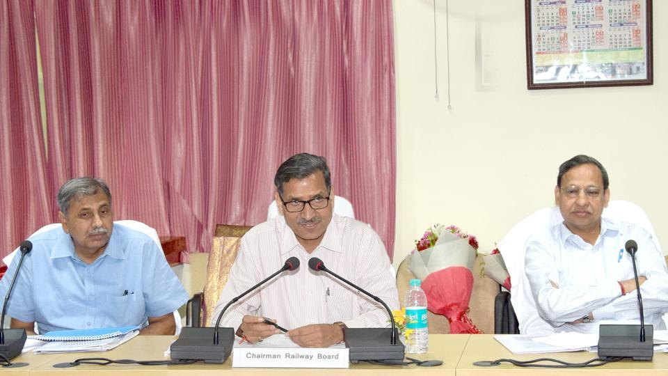 Chairman Railway Board (CRB) AK Mittal chairing the meeting at GM, NCR office at Subedarganj in Allahabad.