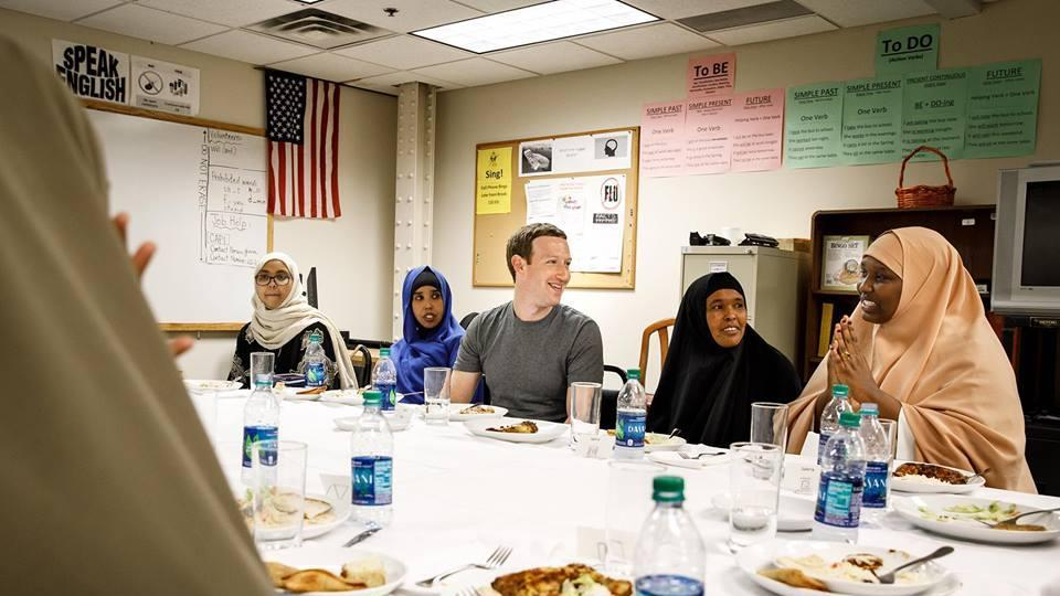 """""""You are a powerful reminder of why this country is so great,"""" Zuckerberg said to the group of Somali refugees."""