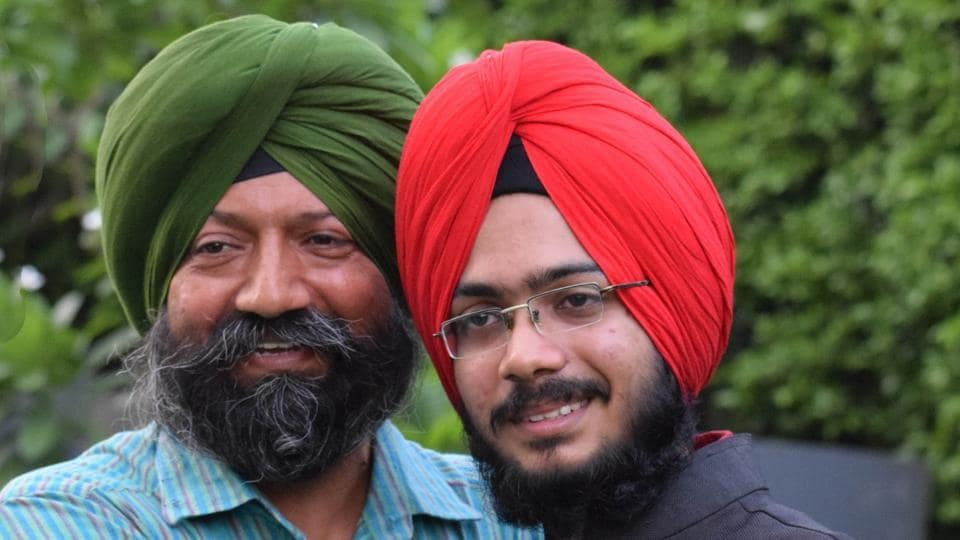 NEETtopper Navdeep Singh with his father in Chandigarh.