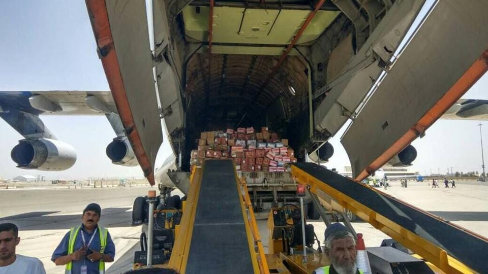 Goods being loaded on the Afghanistan-India air corridor flight at Kandahar on June 24, 2017.