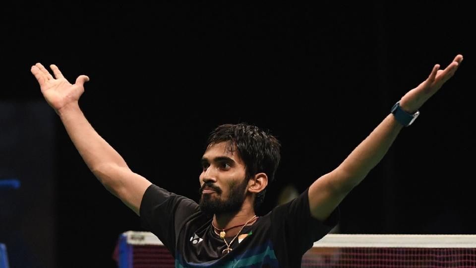 Kidambi Srikanth of India celebrates entering the men's singles final of the Australian Open Superseries on Saturday.