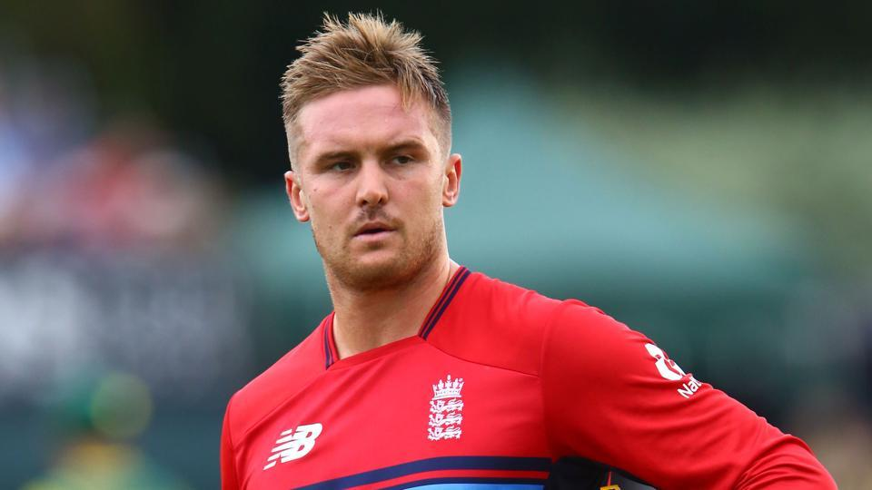 England's Jason Roy walks back to the pavilion after being given out obstructing the field during the second Twenty20 international against South Africa at Taunton on Friday.