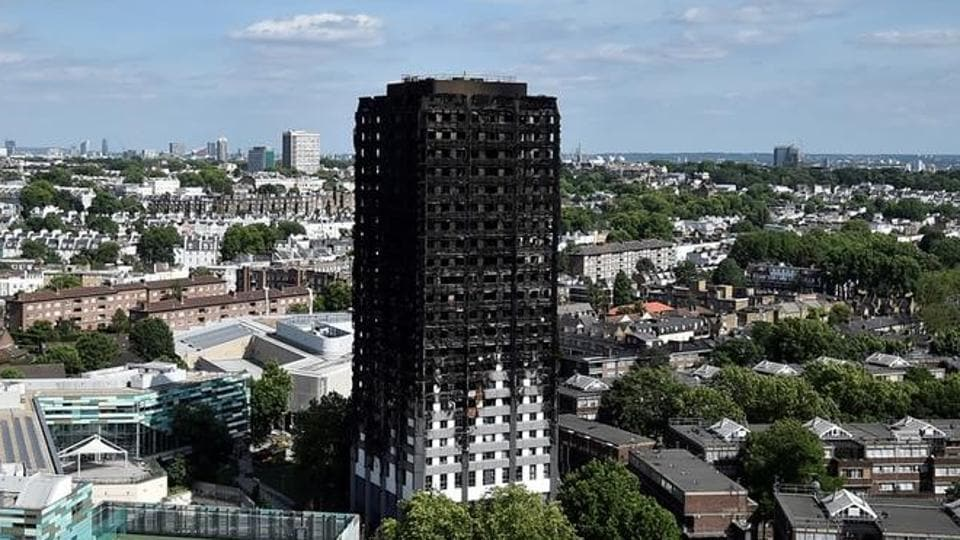 Extensive damage is seen to the Grenfell Tower block which was destroyed in a disastrous fire, in north Kensington, West London.
