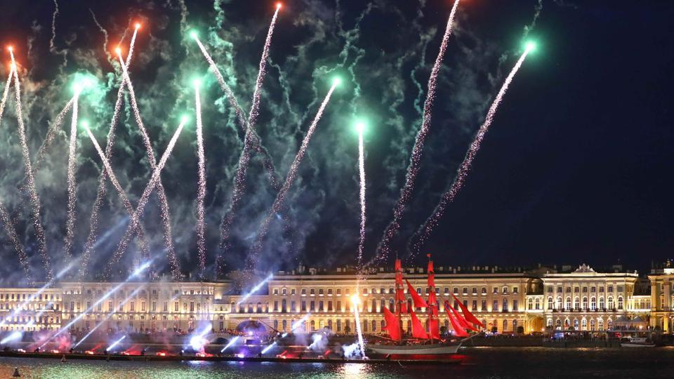 The tradition is highly popular for spectacular fireworks, numerous music concerts, and a massive water-show including a battle among tens of boats full of pirates on the waters of Neva River.  (Kai Pfaffenbach / REUTERS)