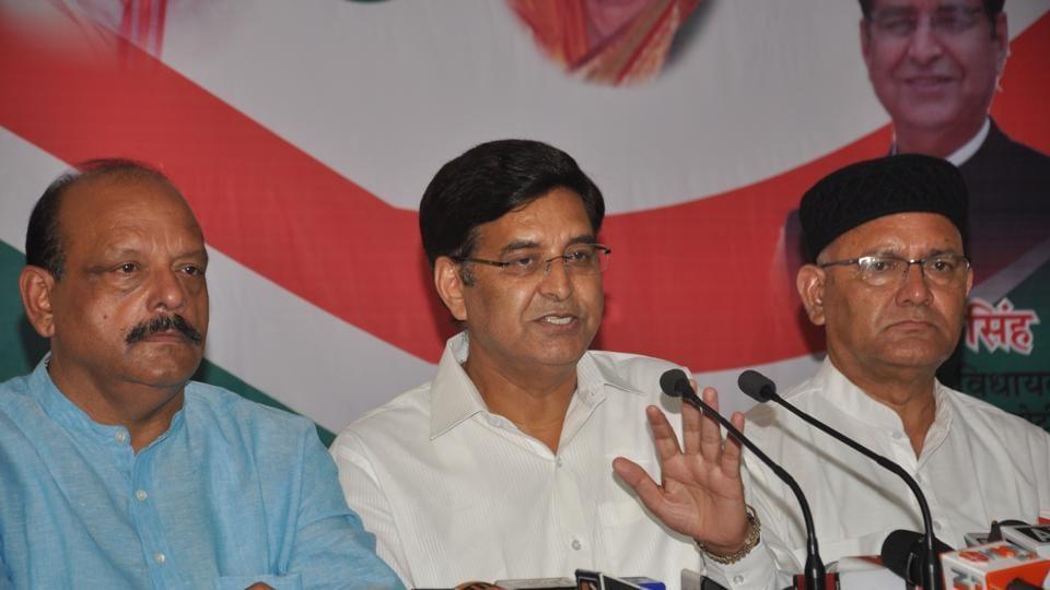 State Congress president Pritam Singh addresses the media persons in Dehradun on Saturday.