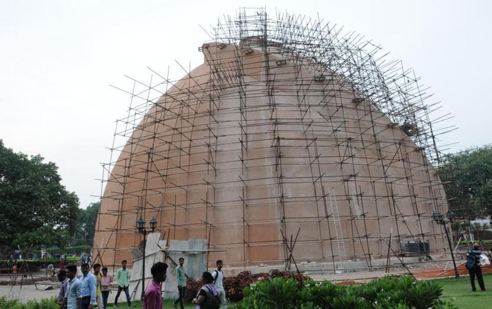 Repair work in progress at Golghar in Patna.