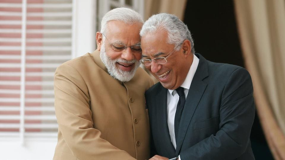 Prime Minister Narendra Modi (left) shares a lighter moment with his Portuguese counterpart Antonio Costa at the Necessidades Palace in Lisbon, Portugal, on June 24, 2017.