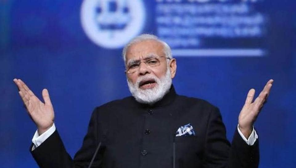 Prime Minister Narendra Modi gestures during a session of the St. Petersburg International Economic Forum (SPIEF), Russia.
