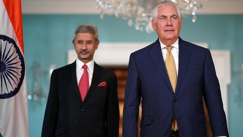 US secretary of state Rex Tillerson (right) walks with Indian foreign secretary S Jaishankar before their meeting at the state department on June 23, 2017 in Washington.