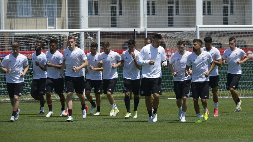 Germany players attend a training session at the Fisht Stadium in Sochi, Russia, Saturday, June 24, 2017. Germany will play Cameroon in the Confederations Cup, Group A soccer match scheduled for Sunday.