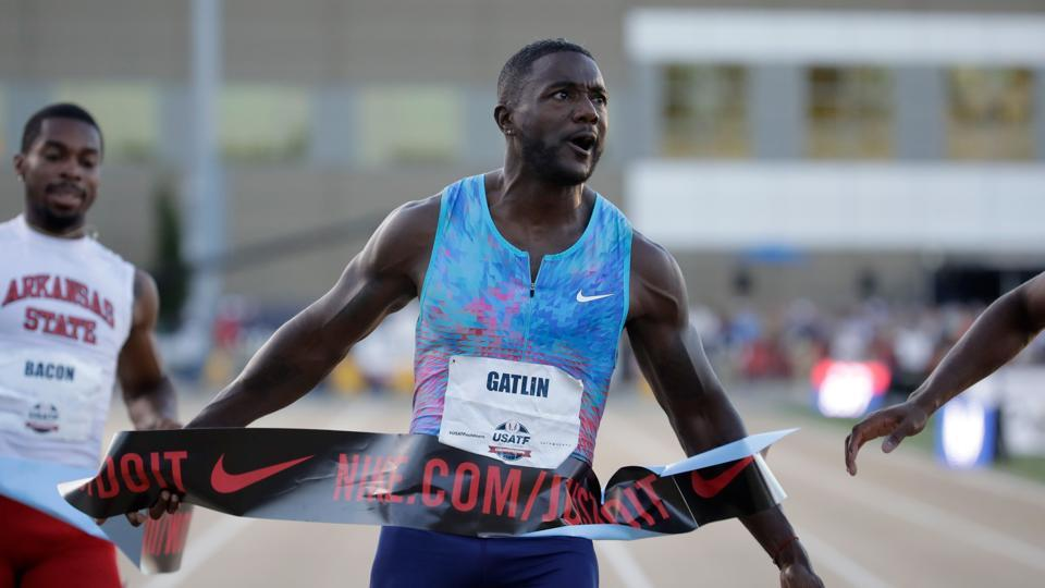 Justin Gatlin celebrates as he win the Men's 100 Meter Final at the USA Track & Field Championships.