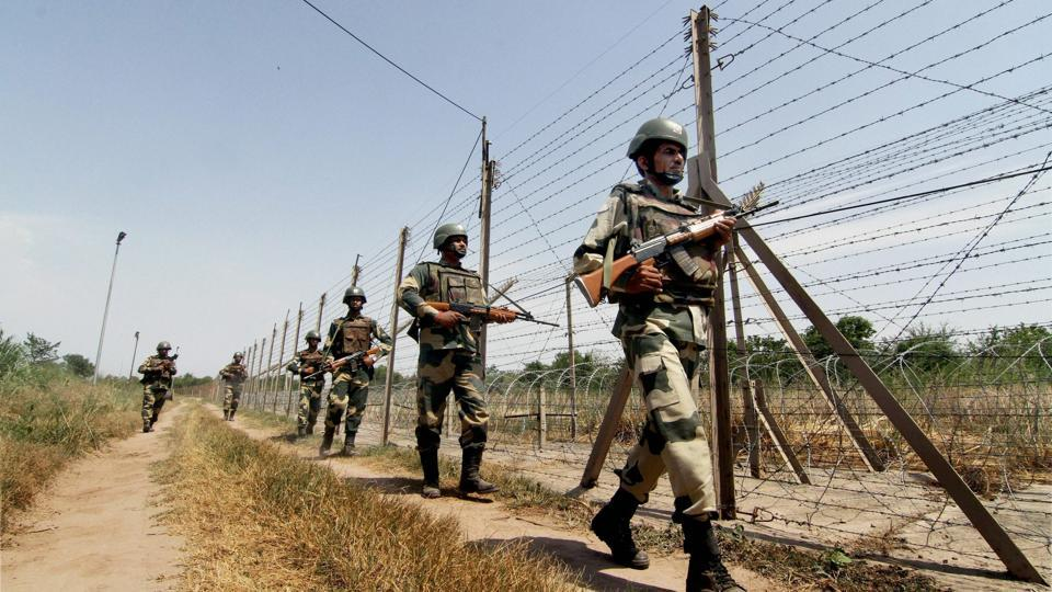 Border Security Force (BSF) personnel patrol the International Border.
