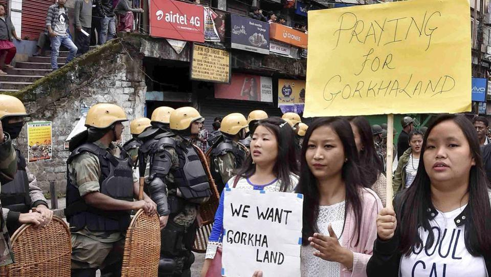 People take out a rally in Darjeeling demanding a separate state of Gorkhaland.