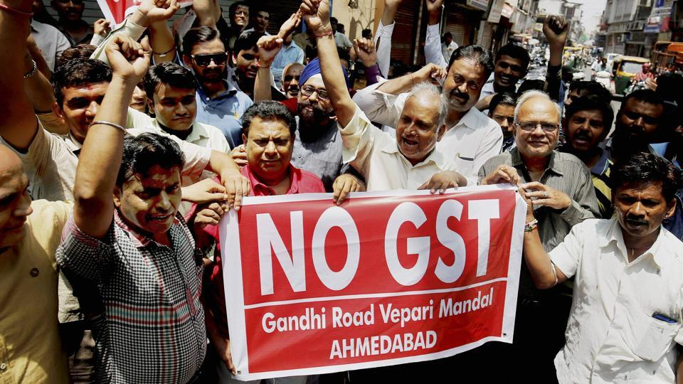 Cloth merchants protest against the Goods and Services Tax (GST) in Ahmedabad.