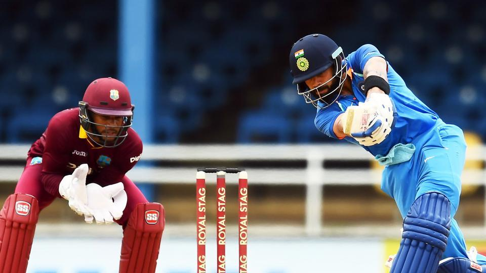 Virat Kohli scored 87 as India beat West Indies by 105 runs in the 2nd ODI at Port of Spain today. The first ODI was washed out due to rain. Catch full cricket score of India vs West Indies here.