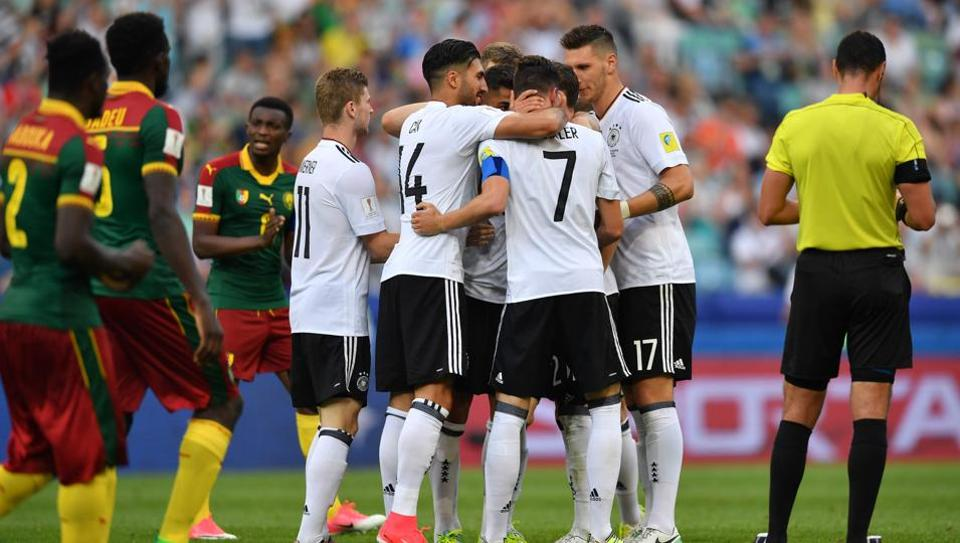 Germany celebrate a goal during the 2017 FIFA Confederations Cup match against Cameroon.